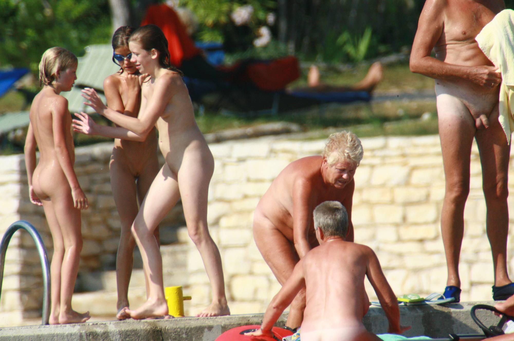 Nudist Pics Girls Group Run and Splash - 1