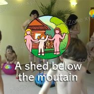 A shed below the mountain