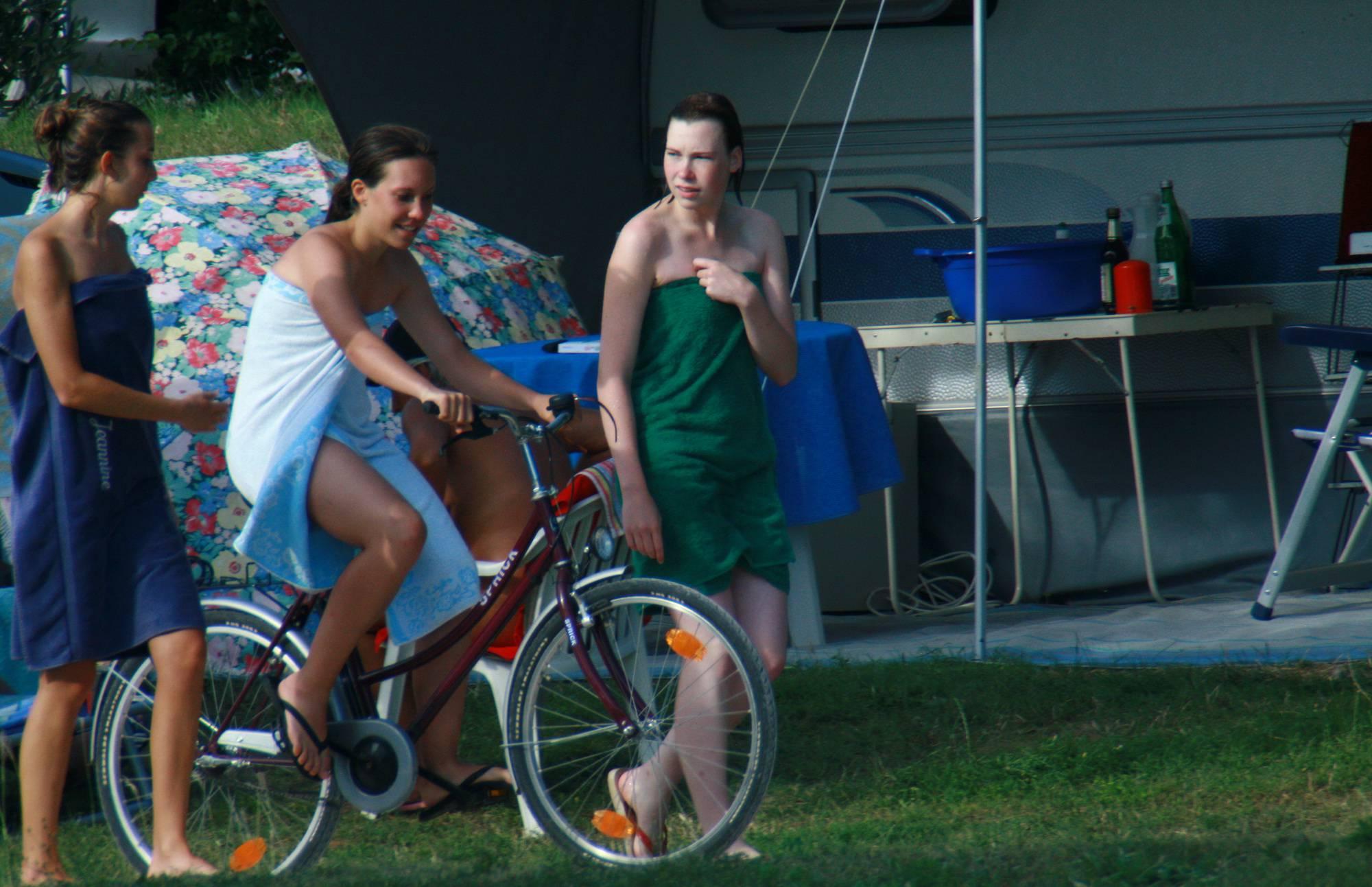 Nudist Pictures Nude Duet Walking and Bike - 1
