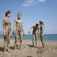 Dried Nudist Mud Statues