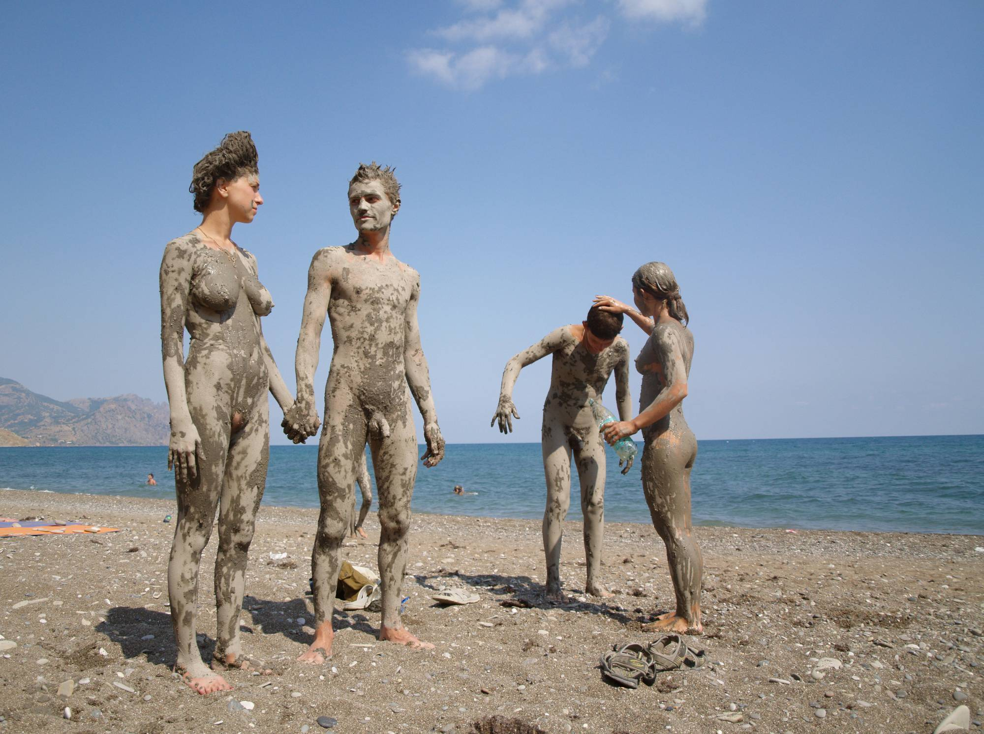 Dried Nudist Mud Statues - 1