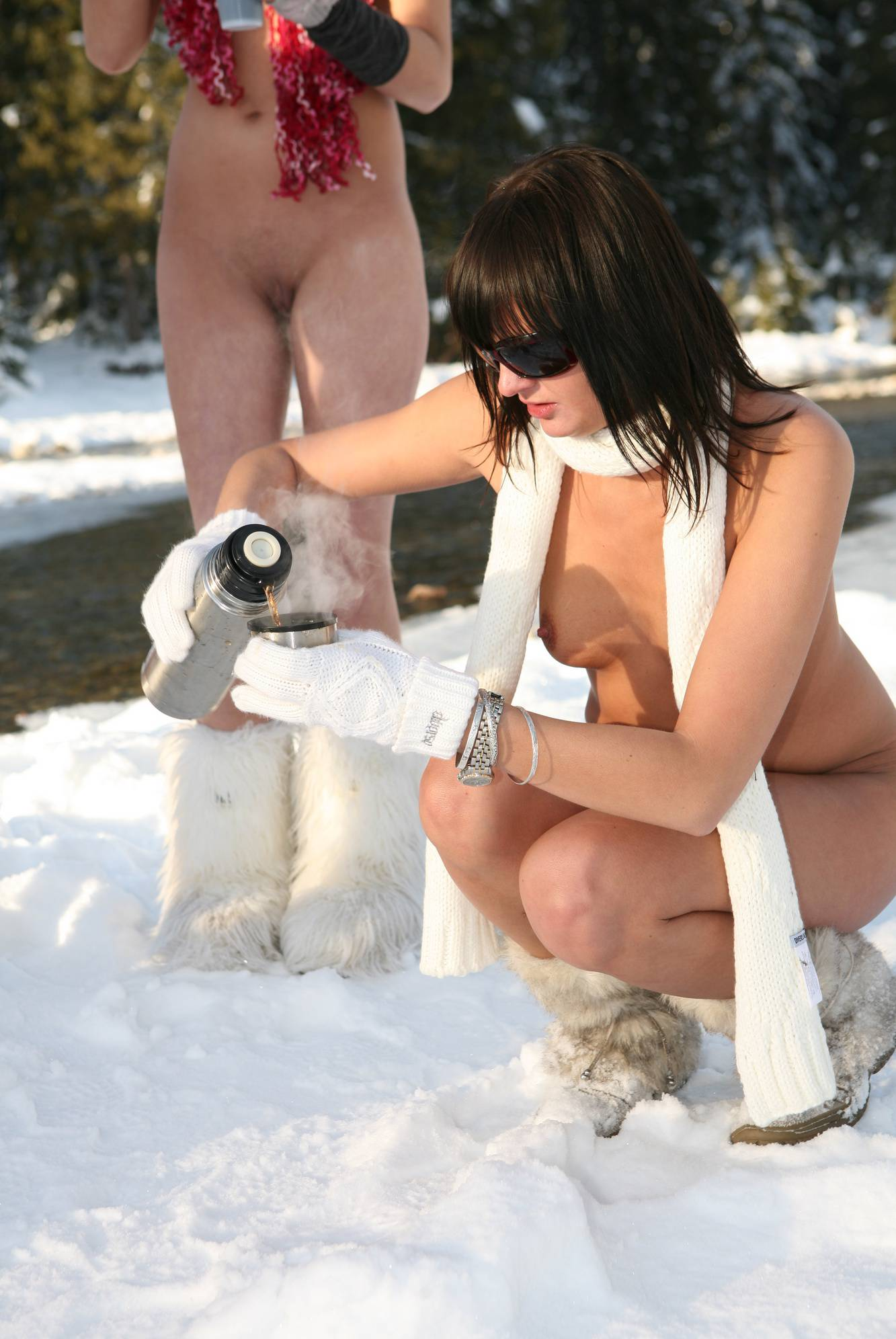 Nudist Gallery Snow Day Fire Drinks - 1