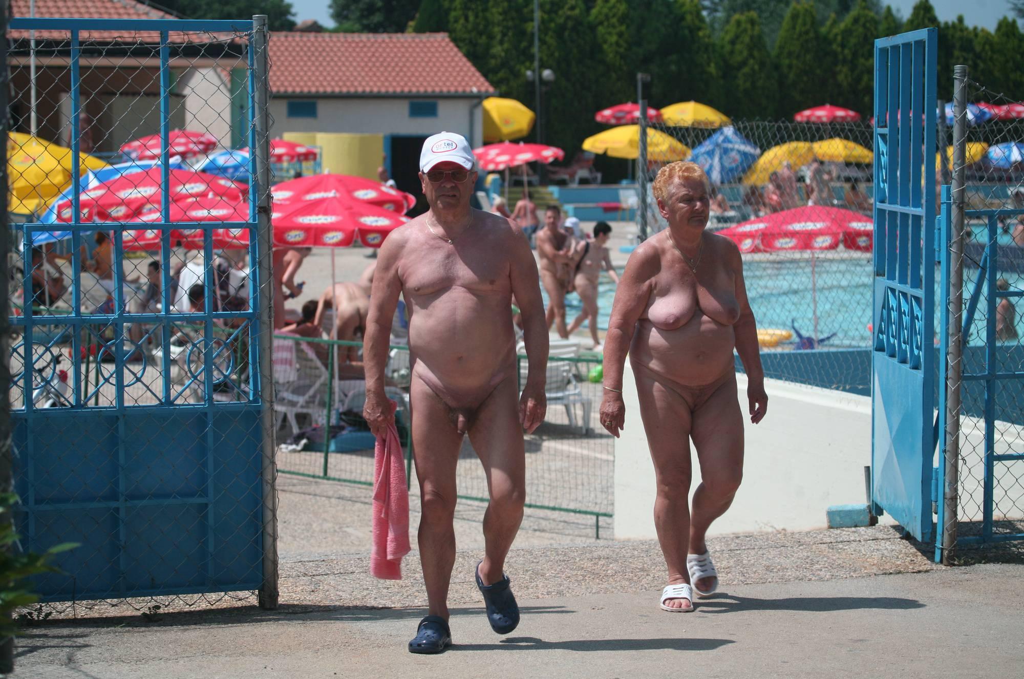 Nudist Pool Guests Enter - 2